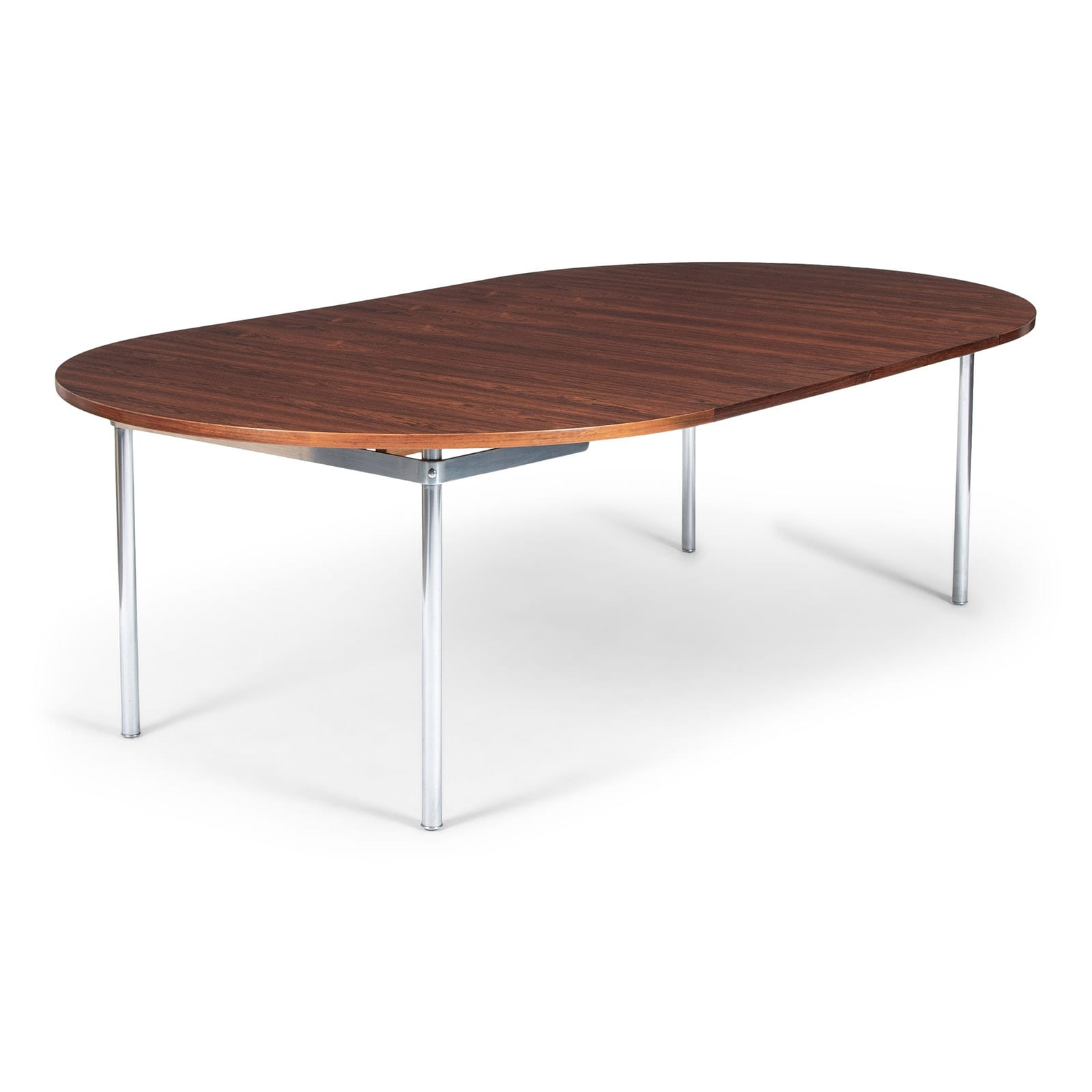 A circular dining table