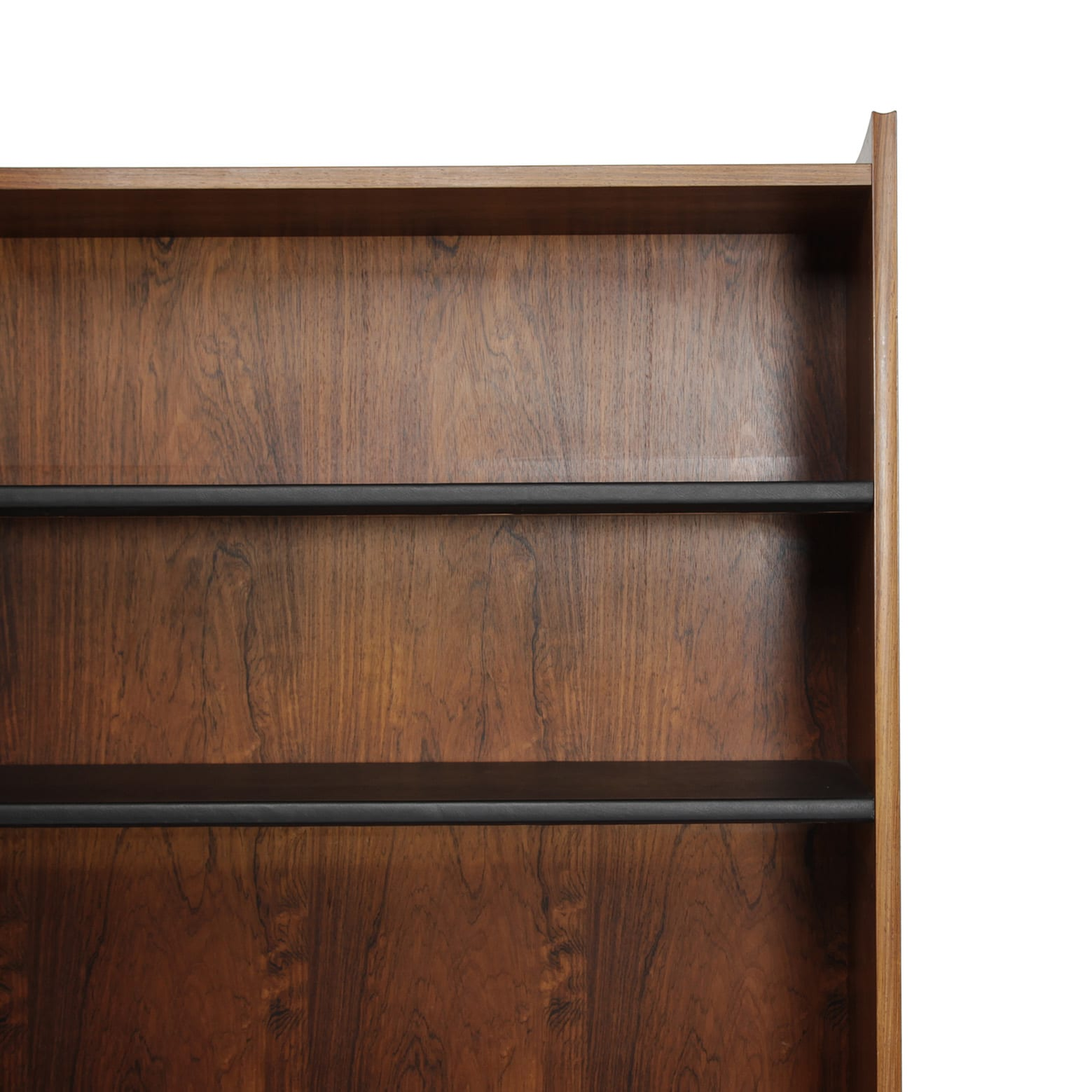 Bookcase with leather covered shelves