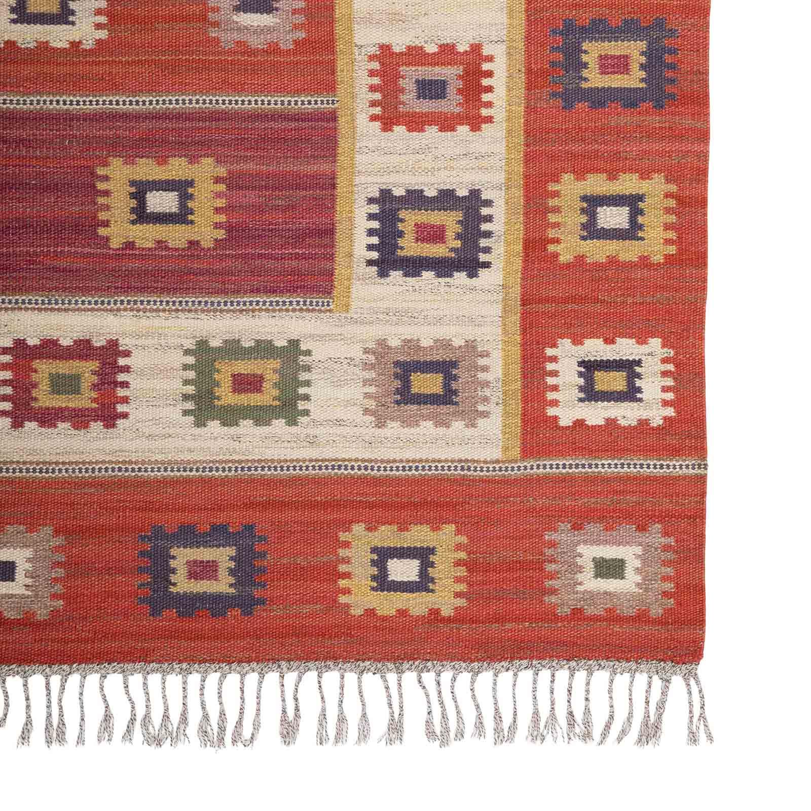 A large early rug, 'Röd Grön Äng'
