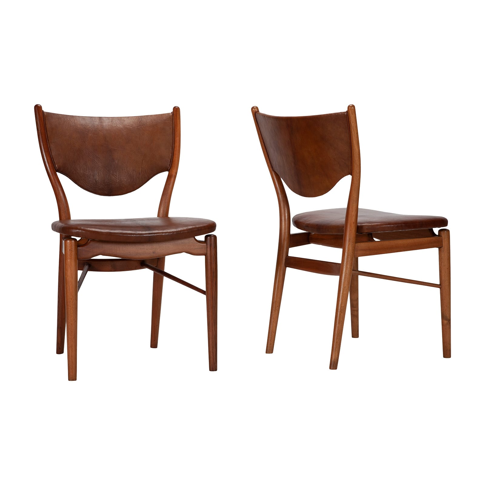 A Set of four chairs and two armchairs