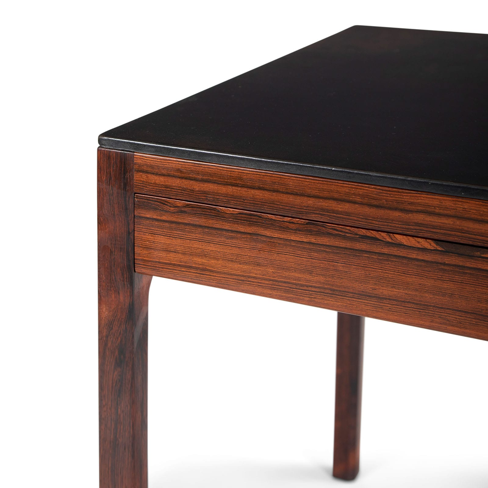 A desk with leather top