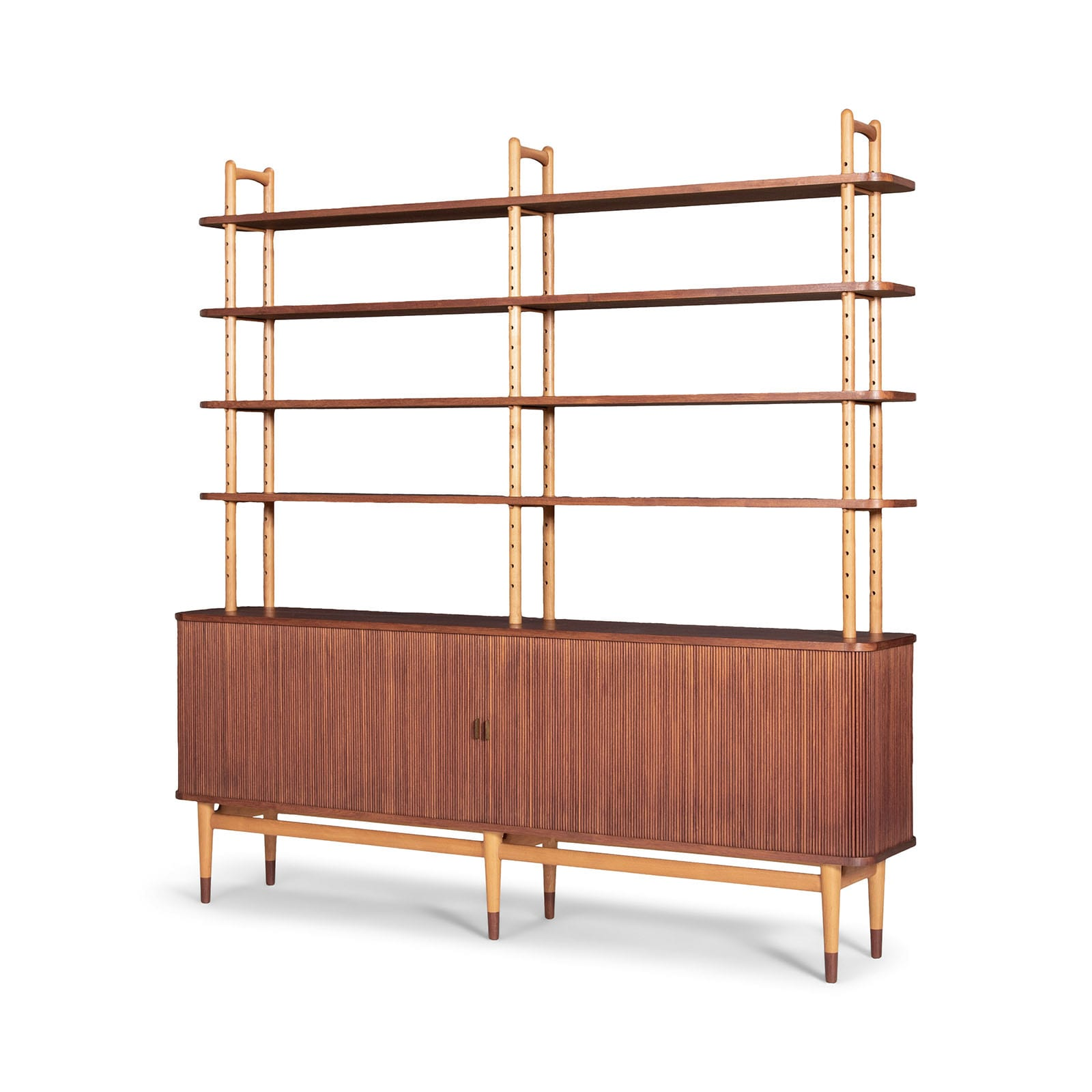 A cabinet with attached shelves