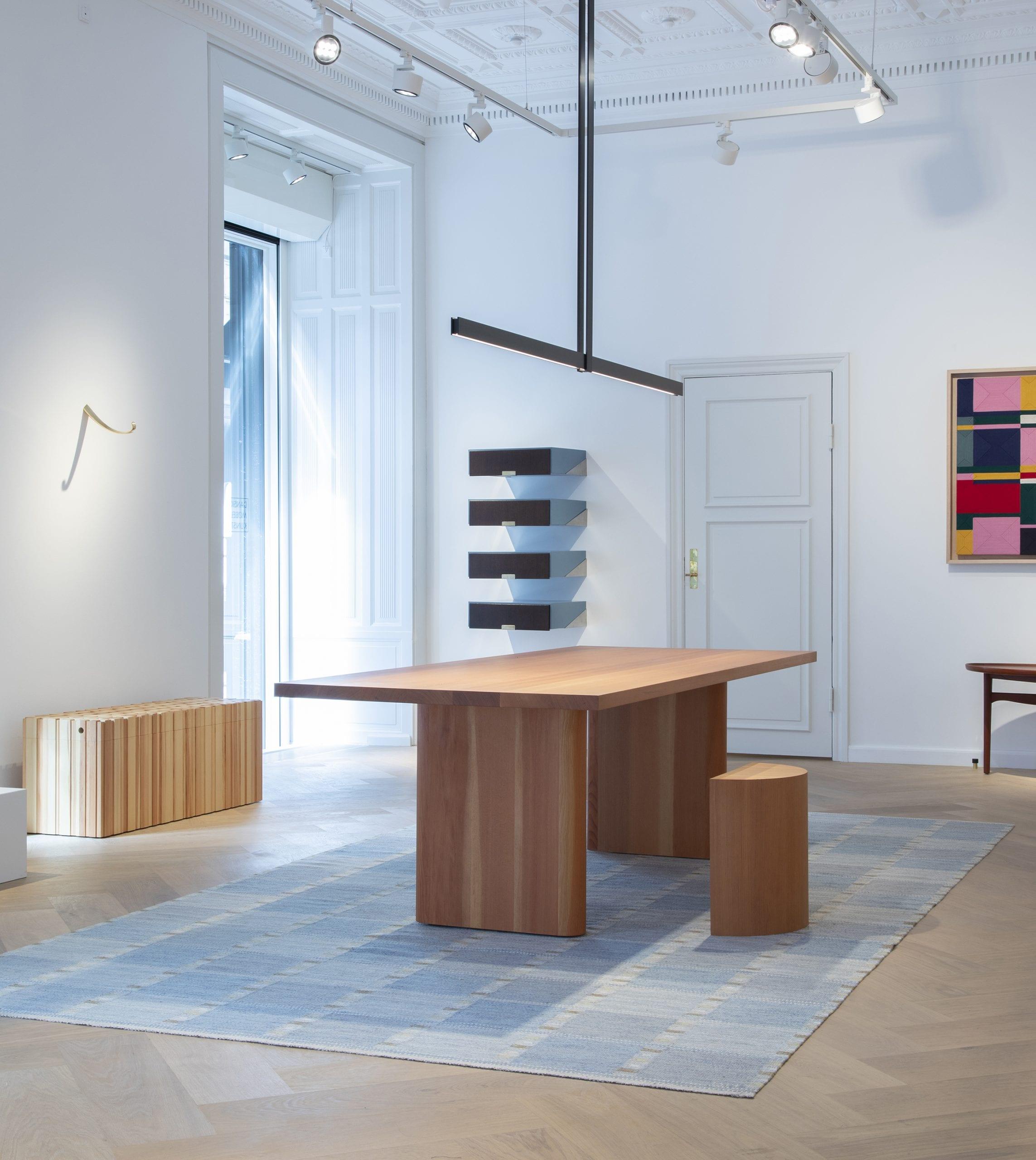 Copenhagen Gallery - Table and stool in Oregon Pine by Michael Anastassiades for Dansk Møbelkunst